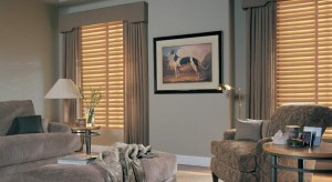Wood blinds combined with draperies and a cornice board