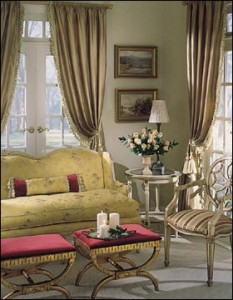 Living room with the warm look of draperies